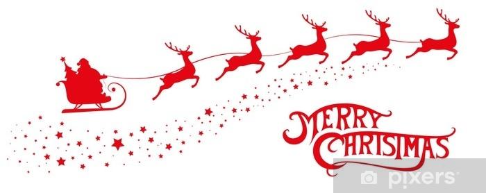 Adesivi Buon Natale.Adesivo Buon Natale Banner Silhouette Babbo Natale In Slitta Con Cervi Volanti Su Sfondo Di Stelle Elementi Di Design Per Decorazione Vacanza Poster Flyer Biglietto Di Auguri Stile Cartone Animato Illustrazione Vettoriale