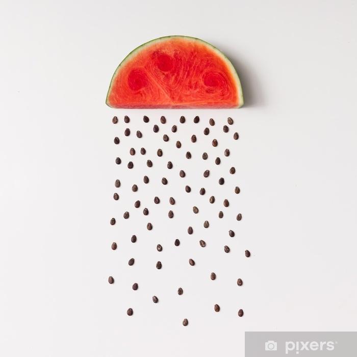 Sticker Pixerstick Tranche de pastèque avec des graines qui pleuvent - Nourriture