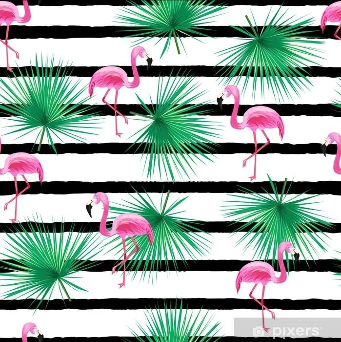 Vinilo Pixerstick Patrón transparente tropical con flamenco - Recursos gráficos