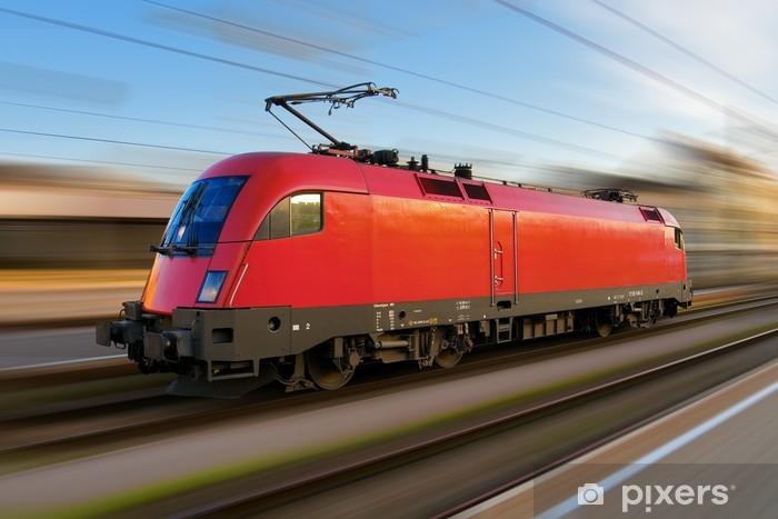 Papier peint vinyle Locomotive électrique européen moderne avec motion blur - Thèmes