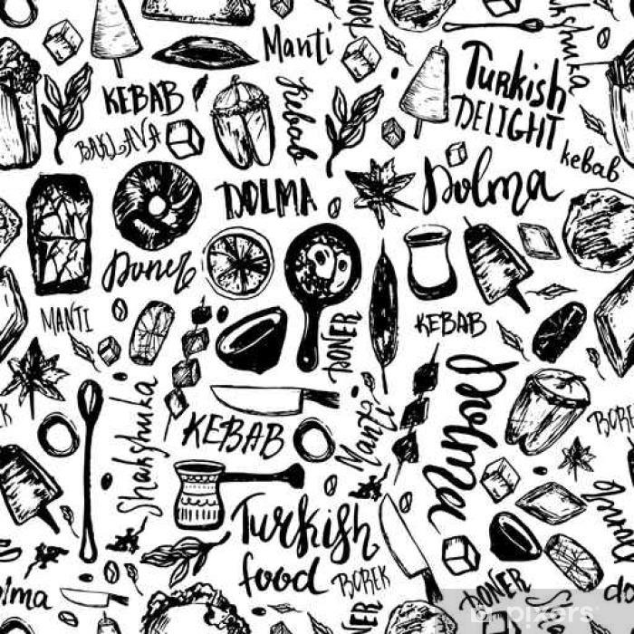 af82cd6b Fototapet av vinyl Tyrkisk mat hånd trukket sømløs mønster med bokstaver og  drikkevarer med Kebab, Dolma, Shakshuka. Freehand vektor doodles isolert på  hvit ...
