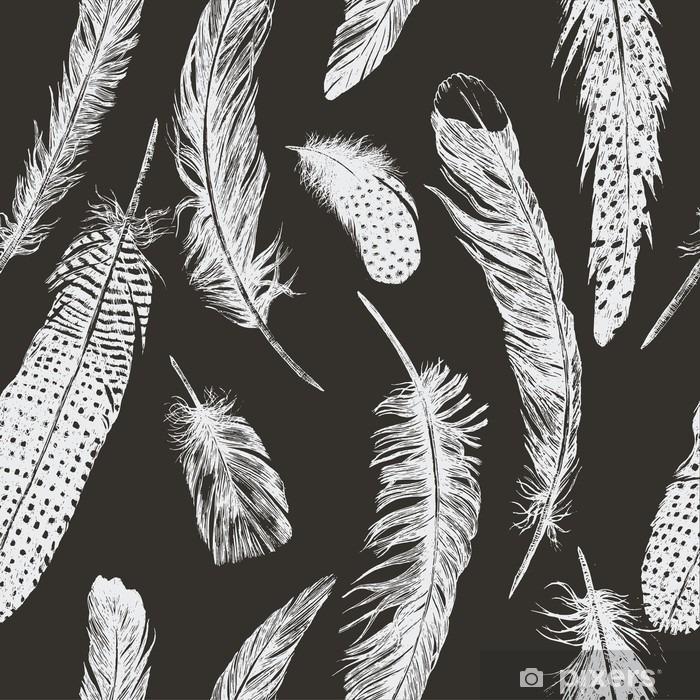 Hand drawn vintage pattern with feathers. Vector. Pixerstick Sticker - Animals