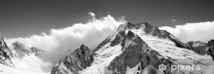 Black and white mountain panorama in clouds Pixerstick Sticker - Landscapes