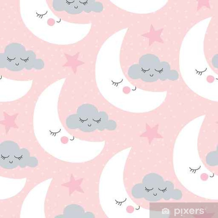seamless moon and clouds pattern vector illustration Self-Adhesive Wall Mural - Landscapes