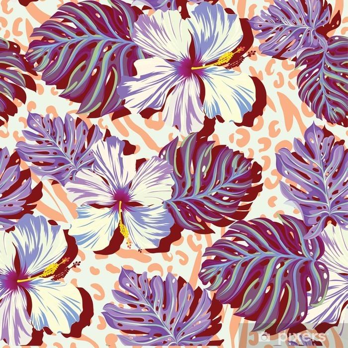 Plakat Bez szwu wektor wzór dla mężczyzn Aloha kwiaty w stonowanych kolorach. - Styl życia