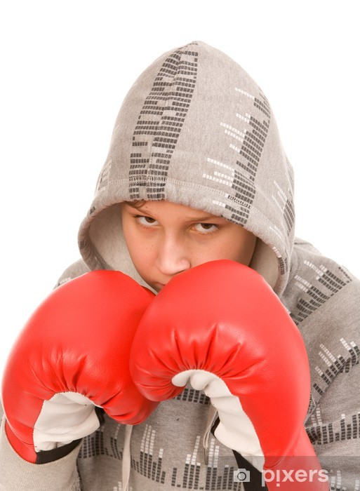 teen boy with red boxing gloves Pixerstick Sticker - Themes