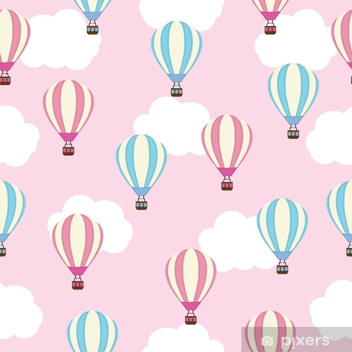 Seamless Background Of Baby Shower Illustration With Cute Hot Air