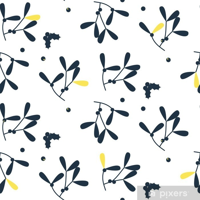 Blue mistletoe silhouette seamless vector pattern. Foliage pattern in scandinavian design style. Washable Wall Mural - Graphic Resources