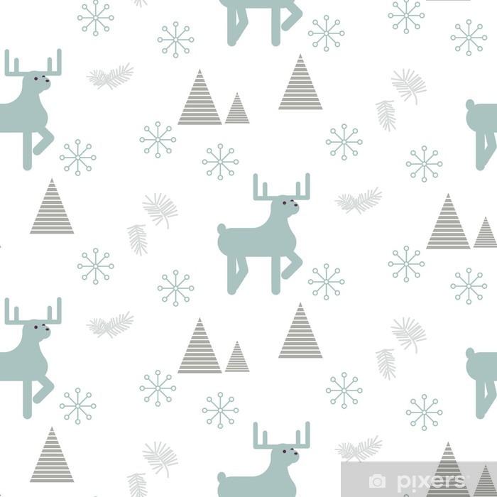Naklejka Pixerstick Renifer w snowy lasu Jednolite wektor wzorca. Skandynawski styl białe i niebieskie pastelowe tło. - Zasoby graficzne