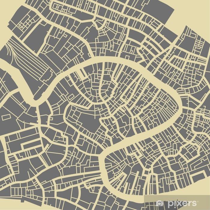 Fotomural Autoadhesivo Venecia mapa vectorial. Monocromo base de diseño de la vendimia para la tarjeta de viaje, publicidad, regalo o un cartel. - Viajes