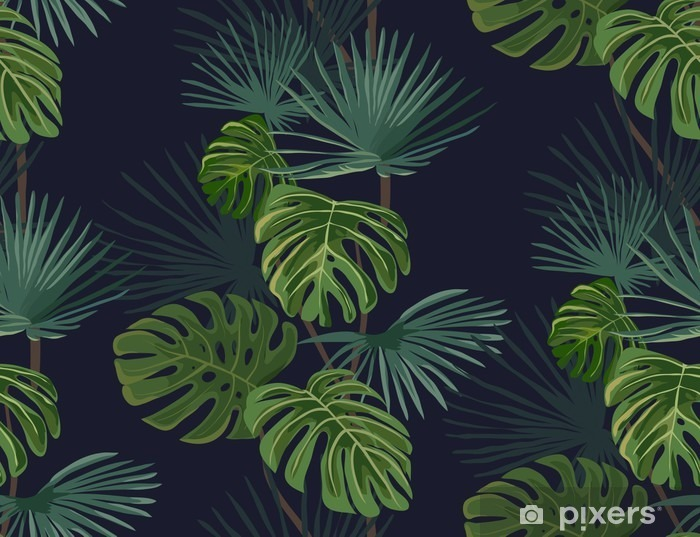 Seamless pattern with tropical leaves. Hand drawn background. Vinyl Wall Mural - Plants and Flowers