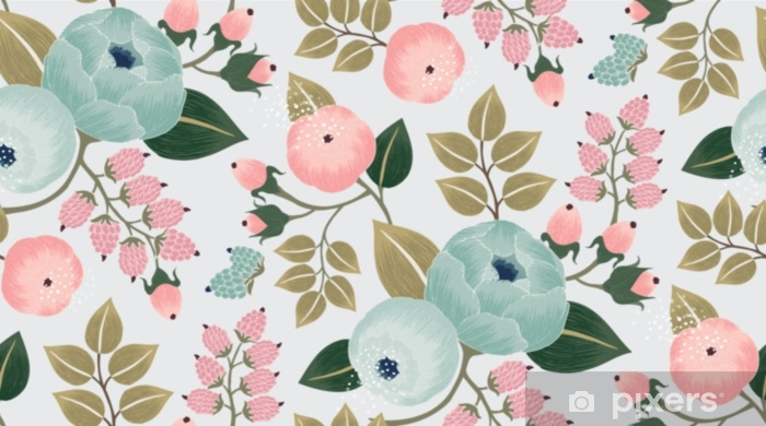 Vector illustration of a seamless floral pattern with spring flowers. Lovely floral background in sweet colors Pixerstick Sticker - Graphic Resources