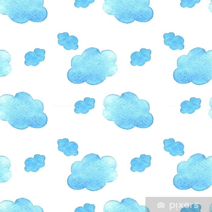 Plakat Niebieskie tło chmury akwarela. ręcznie malowane chmury na białym tle. - Zasoby graficzne
