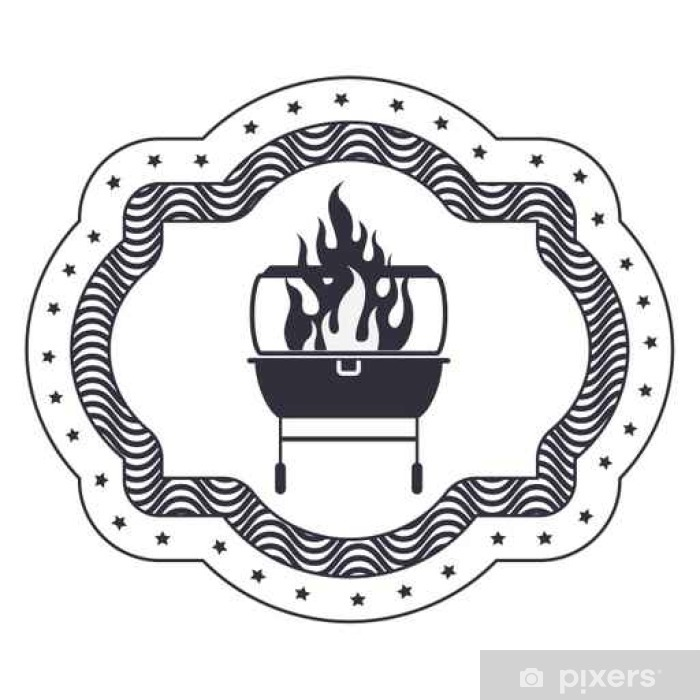 Pixerstick Sticker Grill en vlampictogram. Bbq menu maaltijd steak house food restaurant en een barbecue thema. Geïsoleerde design. vector illustratie - Eten