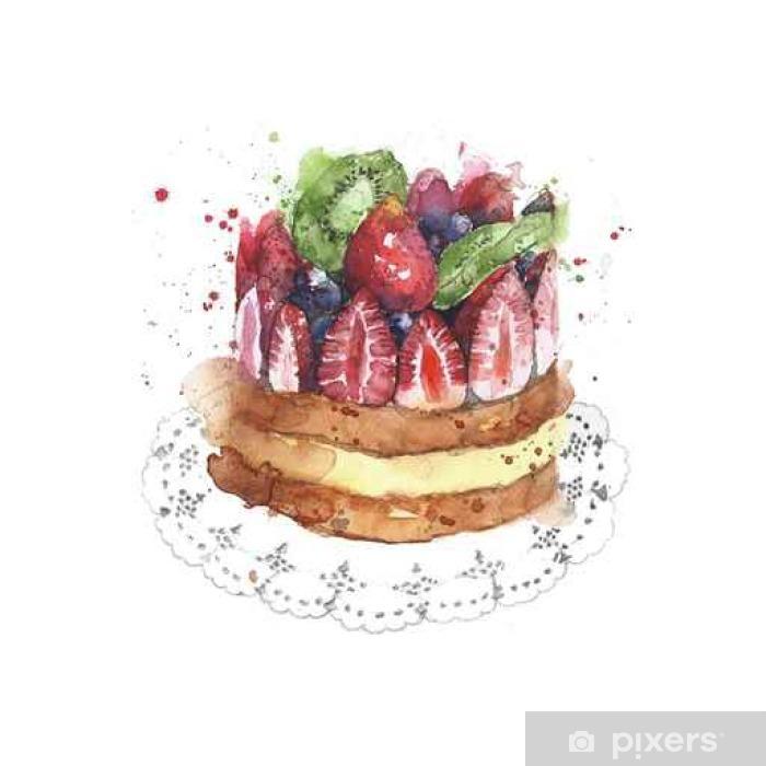 Kek çilek Meyve Kek Kısa Pasta Tatlı Sulu Boya Boyama örnekleme