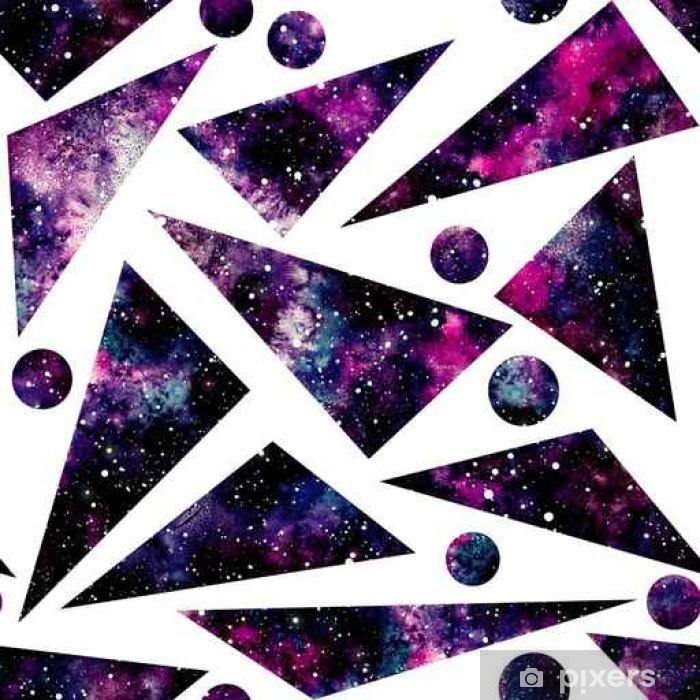 Afwasbaar Fotobehang Watercolor driehoeken en Little Cirkels met Nebula, Naadloos Patroon - Grafische Bronnen