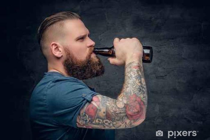 Vinylová fototapeta Muž pití piva. - Vinylová fototapeta