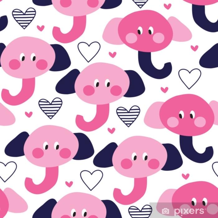 Fotomural Estándar Ilustración de vector de patrón lindo elefante inconsútil - Animales