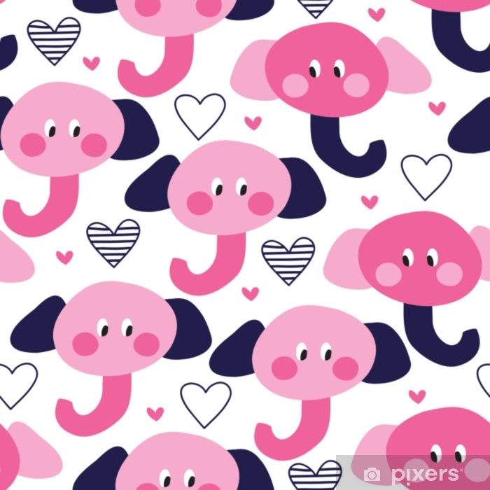 Fototapeta zmywalna Bezszwowe ładny słoń wzór ilustracji wektorowych - Zwierzęta