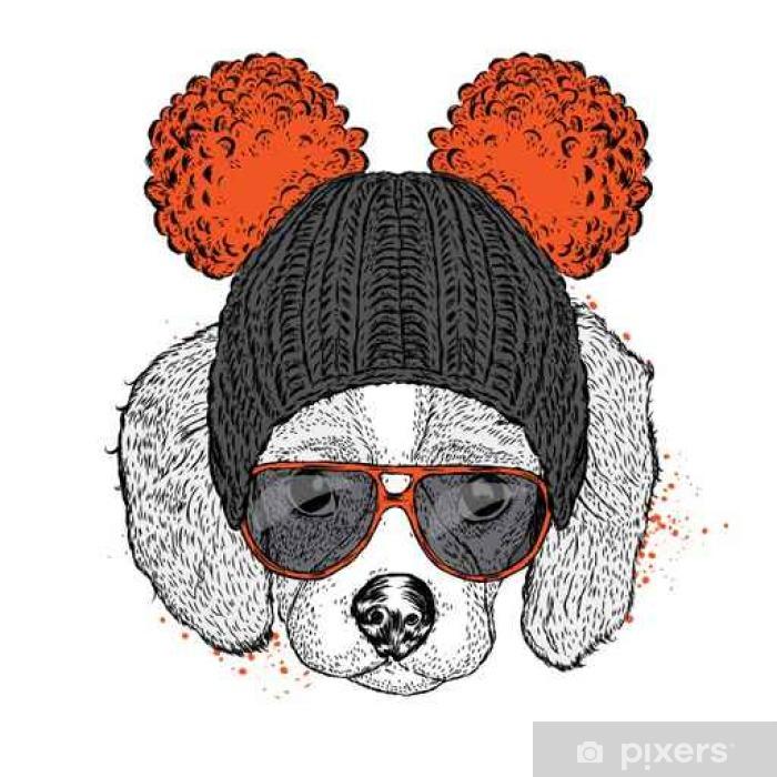 Plakat Cute puppy na sobie kapelusz i okulary przeciwsłoneczne. Ilustracja dla karty lub plakatu. ilustracji wektorowych. Pies. - Zwierzęta