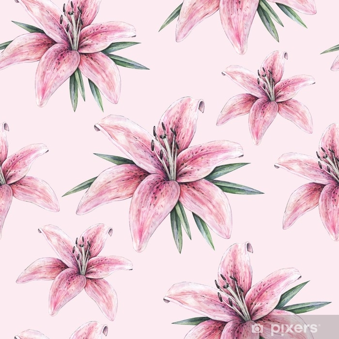 autocolante pixerstick flores rosa do lírio isoladas no fundo cor de