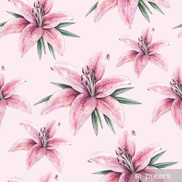 Mural De Parede Em Vinil Flores Rosa Do Lírio Isoladas No Fundo Cor De Rosa Ilustração De Mão Manual De Aquarela Desenho De Lírio Em Flor Com