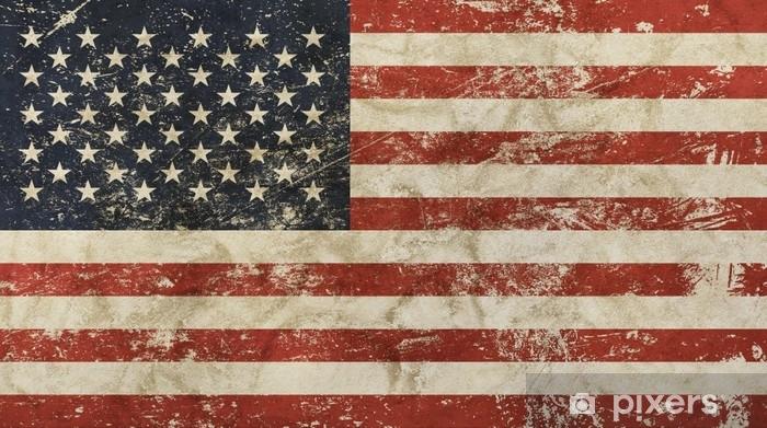 Koc pluszowy Stary nieczysty vintage zatarty amerykańska flaga usa - Zasoby graficzne
