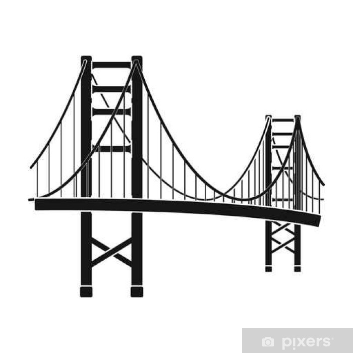 Golden Gate Bridge Icon In Black Style Isolated On White