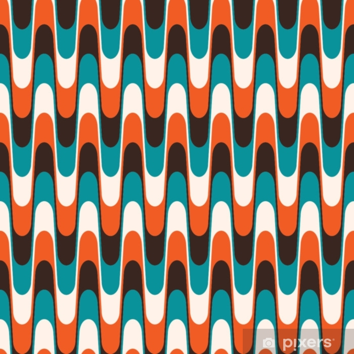 Seamless vintage wavy pattern in mid century style. Vinyl Wall Mural - Graphic Resources