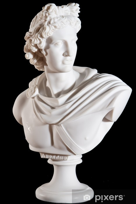 Fotomural Estándar Mármol blanco clásico Apollo busto aislado en el fondo negro - Construcciones públicas