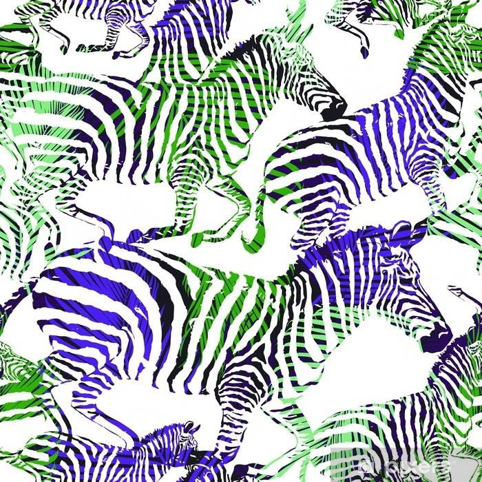 Fotobehang Abstract Gestreept Tropisch Dier In De Jungle Op Kleurrijke Schilderij Hand Getrokken Achtergrond Druk Naadloos Vectorpatroon In Manierstijlen Af Pixers We Leven Om Te Veranderen