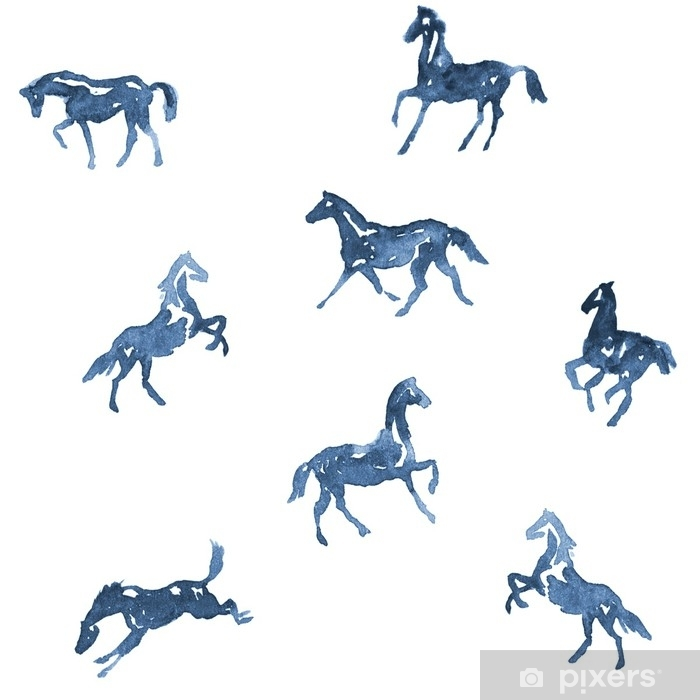 Watercolor Hand Painting Horses Pattern Hand Drawing Background Set Of Silhouette Horses In Motion Rearing Horse Running Horse Illustration Wall
