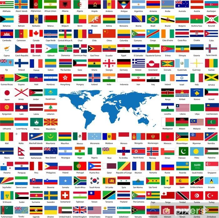 Vinyl Fotobehang Vlaggen uit de hele wereld - Tekens en Symbolen