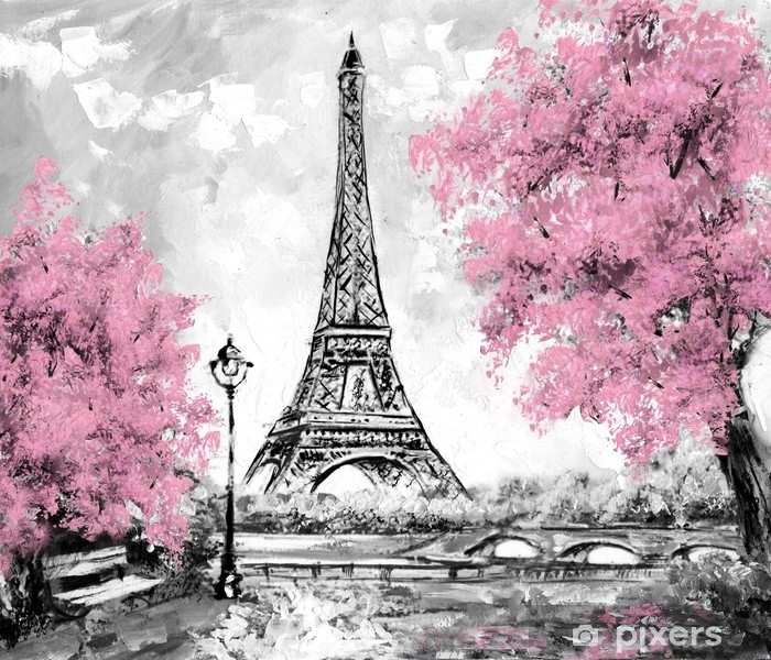 Oil Painting Paris European City Landscape France Wallpaper Eiffel Tower Black White And Pink Modern Art Wall Mural Vinyl