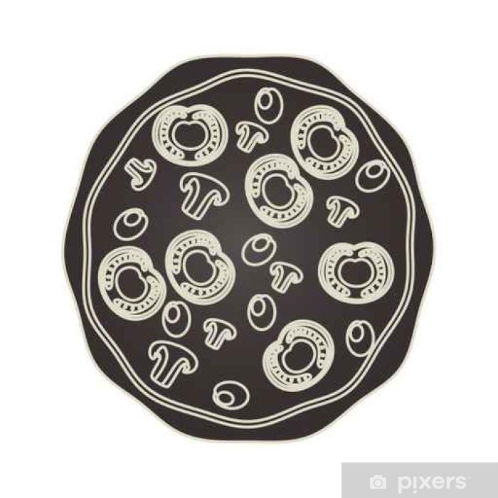 Plakat Pyszna pizza włoska ikona projektowania ilustracji wektorowych - Jedzenie