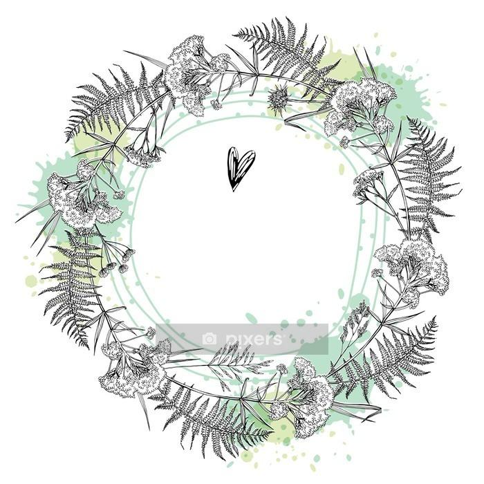 Naklejka na ścianę Szablon kartkę z życzeniami lub zaproszenia z roślin. Naszkicować. Odręczny rysunek z miejsca na tekst. - Zasoby graficzne