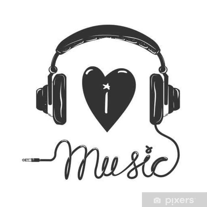 Carta Da Parati Amo La Musica Cuffie Con Testo Isolato Su Sfondo