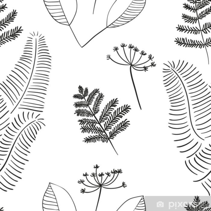 Alfombrilla de baño Vector escandinavo floral de patrones sin fisuras. elementos simples dibujados a mano en estilo nórdico. volver a aplicar la composición enlosables para su diseño. - Plantas y flores