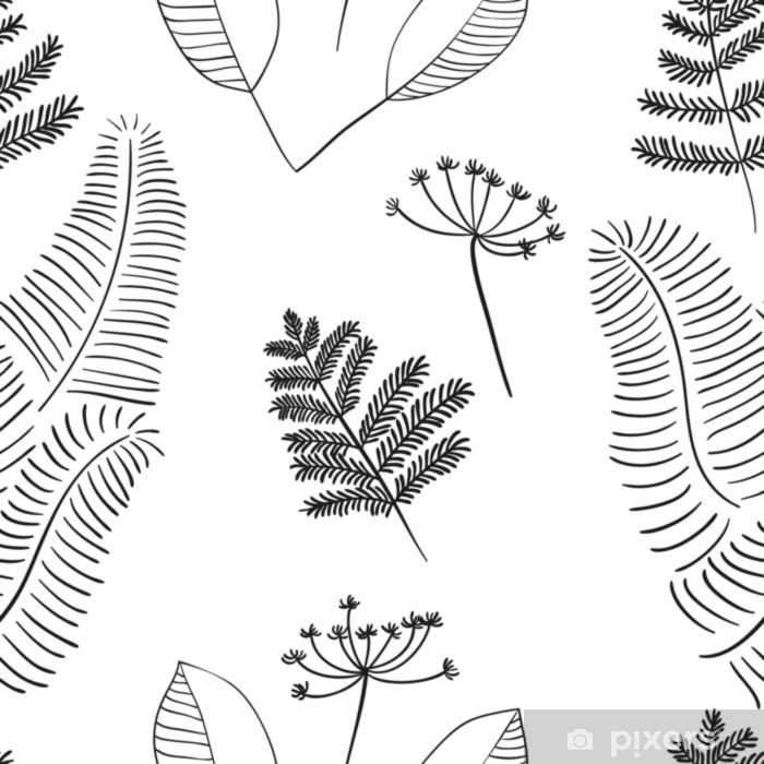 Scandinavian vector floral seamless pattern. Simple hand drawn elements in nordic style. Reapiting tileable composition for your design. Pixerstick Sticker - Plants and Flowers