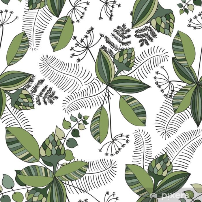 Fotomural Estándar Vector escandinavo floral de patrones sin fisuras. elementos simples dibujados a mano en estilo nórdico. volver a aplicar la composición enlosables para su diseño. - Plantas y flores