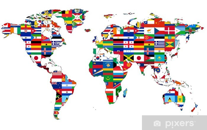 Vinyl Fotobehang Wereldkaart met vlaggen - iStaging