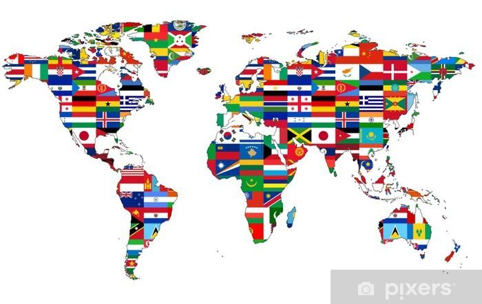 Fotomural Estándar Mapa del mundo con banderas - iStaging