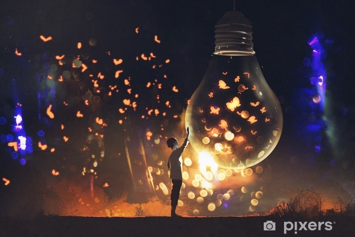 Sticker Pixerstick Homme et grosse ampoule avec papillons rougeoyants à l'intérieur, illustration, peinture - Passe-temps et loisirs