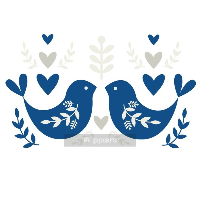 Folk Motif with Birds Wall Decal - Graphic Resources