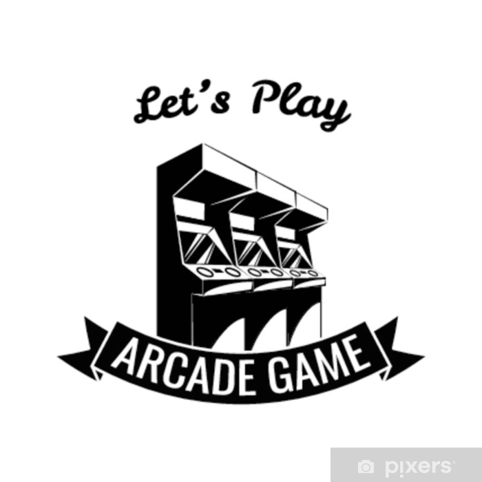 Naklejka Pixerstick Videogames projektują nad błękitnym tłem, wektorowa ilustracja. - Technologia