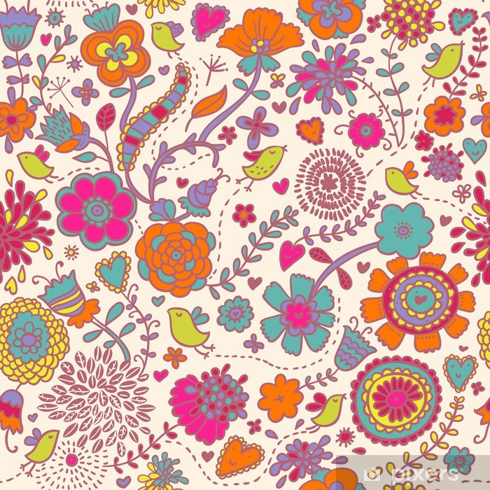 Poster Colorful seamless pattern - oiseaux en fleurs - Thèmes