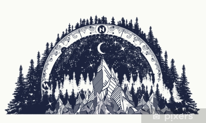 Mountain antique compass and wind rose tattoo Pixerstick Sticker - Landscapes