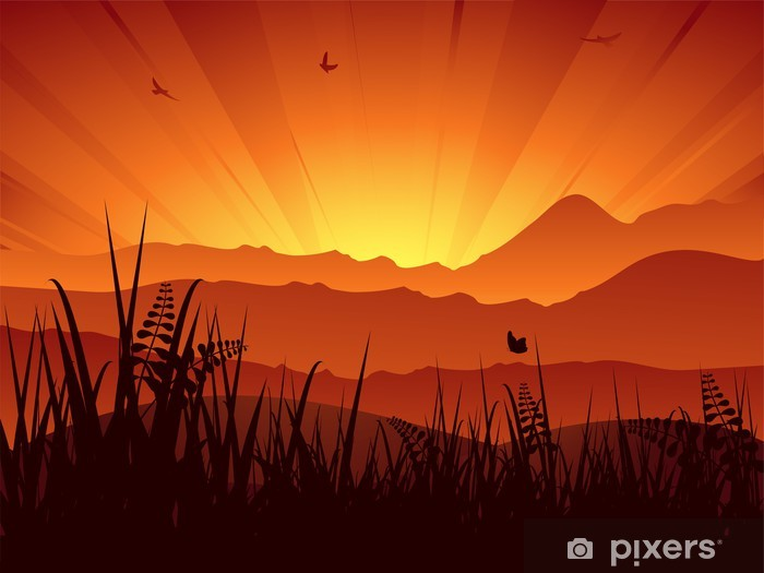Sticker Pixerstick Coucher de soleil paysage de montagne - Campagne