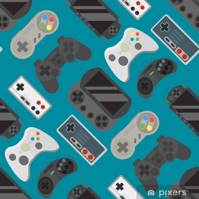 Gamepad colorful seamless pattern Pixerstick Sticker - Technology