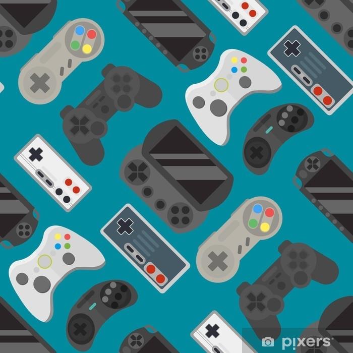 Sticker Pixerstick Modèle sans couture coloré de gamepad - Technologie